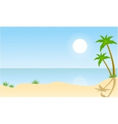 Beach and palm scenery flat vector