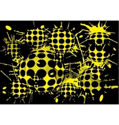 Background halftone blot yellow balls vector