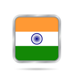 flag of india shiny metallic gray square button vector image