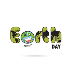 Green earth day typographical design elements vector