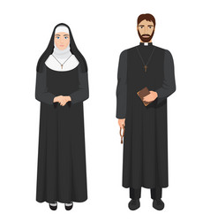 catholic priest and nun realistic vector image