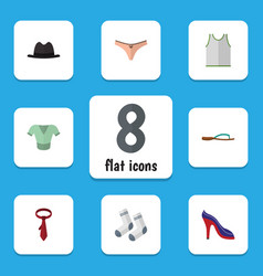 Flat icon dress set of foot textile singlet vector