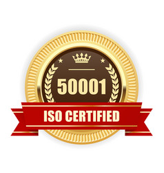 Iso 50001 certified medal - energy management vector