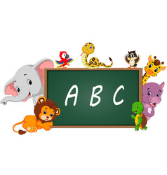 Alphabet with cute wild animal vector