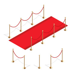 Isometric red event carpet and barrier rope vector