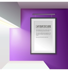 Illuminated wall with a frame for your message vector