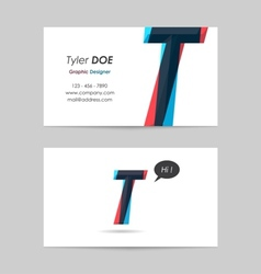 Business card template - letter t vector
