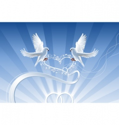 Wedding composition with white doves vector