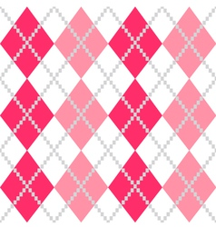 Retro argyle seamless pattern in pink and white vector