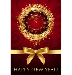 Happy new year card with clock and ribbbon vector