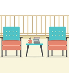 Sofa with books and coffee at balcony vector
