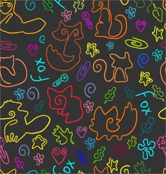 Doodle seamless pattern with foxes 1 vector