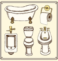 Sketch bathroom and toilet equipment vector