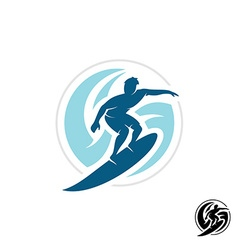 Surf logo with man silhouette board and sea waves vector