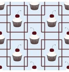 seamless patten with cake vector image