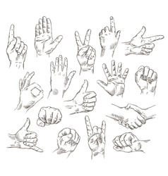 Set of hands and gestures - outline vector