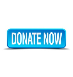 Donate now blue 3d realistic square isolated vector