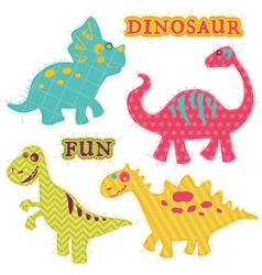 Scrapbook design elements - ute dinosaur set vector