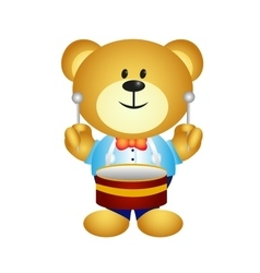 Bear playing drums vector image vector image