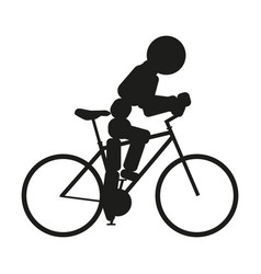 Bicycle sign black icon on vector