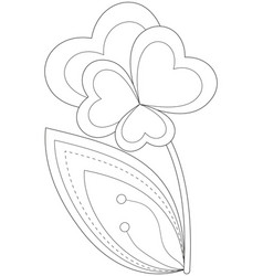 Black and white heart flower plant vector