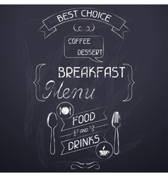 Breakfast on the restaurant menu chalkboard vector image