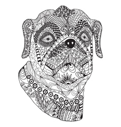 Bulldog portrait hand drawn stylized dog vector