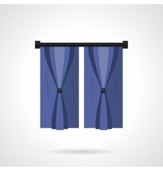 Curtains for bedroom flat color icon vector