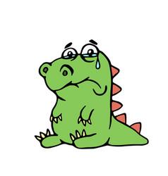 Cute unhappy dinosaur cute unhappy vector