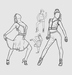 Dancers line art artistic drawing style vector