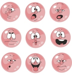 Emotion smiles pink color set 005 vector image vector image