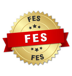 Fes round golden badge with red ribbon vector