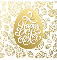 Happy easter greeting lettering on golden seamless vector