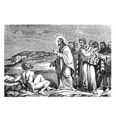 Jesus talking with the gerasene demoniac vintage vector