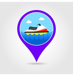 Jet ski pin map icon summer vacation vector