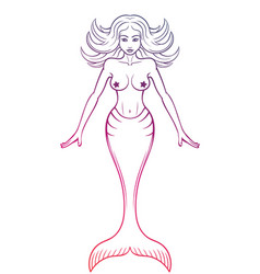 Mermaid outline on white vector