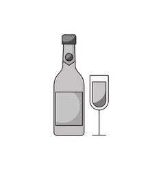 merry christmas bottle champagne and glass vector image