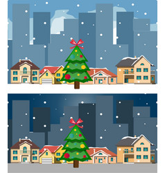 night city and day christmas city and building vector image vector image