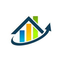 Real estate house roof graph chart icon vector