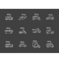 Sale vehicles white flat line icons set vector