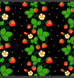 seamless with of strawberries vector image vector image
