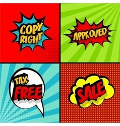 Set comic sound effects pop art copy right sale vector image vector image
