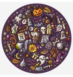 Set of Halloween cartoon objects symbols and vector image