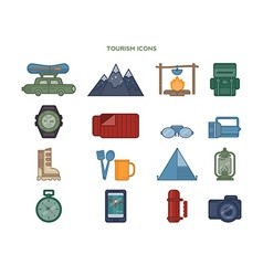 set of icons relating to tourism vector image vector image