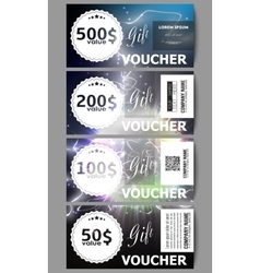 Set of modern gift voucher templates electric vector