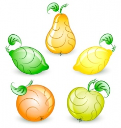 set of stylized fruits vector image