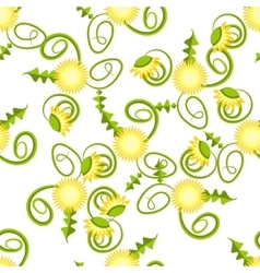 Spring dandelion in yellow blossom pattern vector image