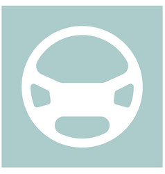 Steering wheel the white color icon vector