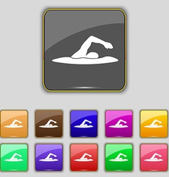 Swimmer icon sign set with eleven colored buttons vector