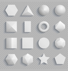 Top view realistic math basic shapes isolated on vector